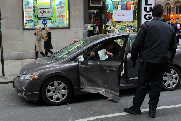 A cab struck a sedan at the intersection of 56th Street and Seventh Avenue Thursday morning.