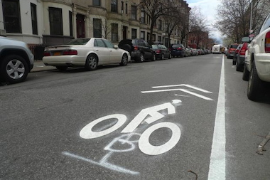 The Department of Transportation is proposing adding a shared bike lane similar to this one on Bond Street in Gowanus and Boerum Hill.