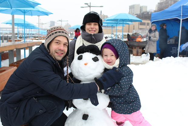 Dozens of families braved the flurries and wind to join in the snow sculpture competition at Pier 5 in Brooklyn Heights on Saturday.