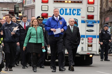 City Council Speaker Melissa Mark-Viverito, Mayor Bill de Blasio and NYPD Commissioner Bill Bratton were on scene after an explosion in East Harlem Wednesday, March 12, 2014.