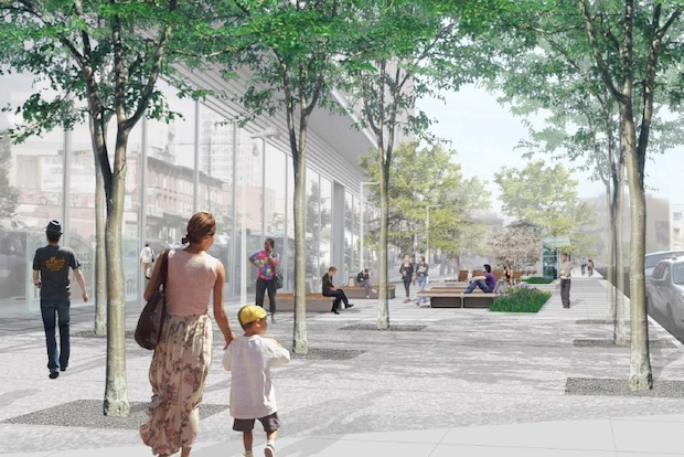 Plans for the Myrtle Avenue Plaza include new bus stops, dozens of new trees, large planters, game tables, a water fountain, a permanent art installation, and moveable tables and chairs.