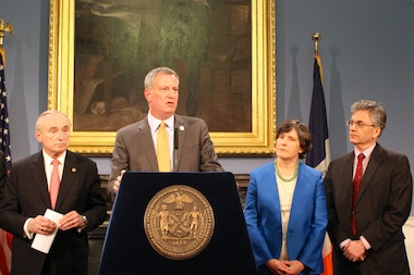 Mayor Bill de Blasio and Police Commissioner Bill Bratton announce a series of new criminal justice appointments on March 11, 2014, including the new director of the Mayor's Office of Criminal Justice, Elizabeth Glazer, and Senior Advisor to the Office of Criminal Justice, Vincent Schiraldi.