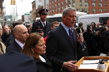 Mayor Bill de Blasio announcing housing options for vicitims of the East Harlem gas explosion on Mary 14, 2014.