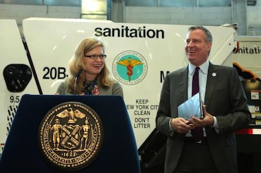 Mayor Bill de Blasio appointed Kathryn Garcia, the COO of the city's Department of Environmental Protection, to take over for out-going sanitation department commissioner John Doherty on March 15, 2014.