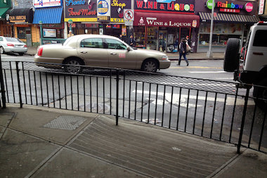 The railing was installed last month on Broadway near 74th Street.