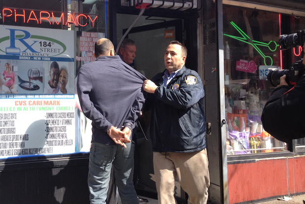 Police raided 184th Street Pharmacy for an alleged drug buy-back operation on Tuesday.