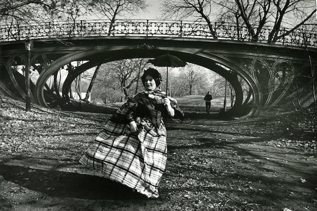 The exhibit shows 88 photographs taken over an eight-year period in which Cunningham photographed women wearing vintage dresses in New York City's architectural sites.