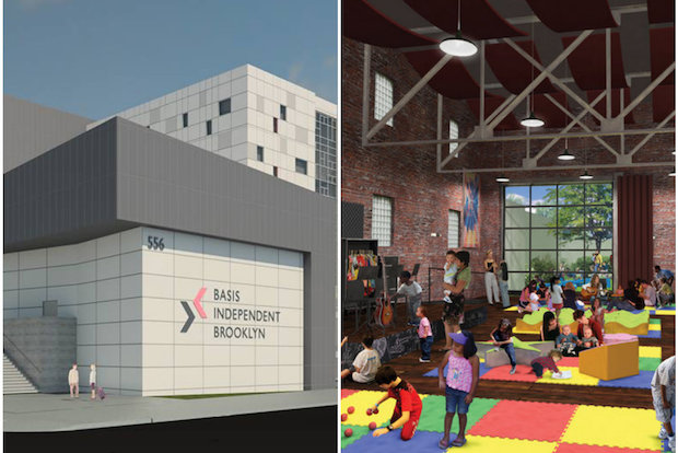 Renderings for the Rock and Roll Playhouse, a proposed bar and music venue at 280 Bond St., in Gowanus and for Basis Indepdent Brooklyn, a proposed private school at 556 Columbia St., in Red Hook. Both projects will be decided at the Board of Standards and Appeals hearing March 25.