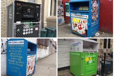 Donation bins from Viltex, USAgain and SpinGreen have been spotted throughout the city.
