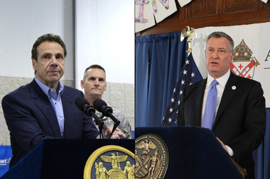 Governor Andrew Cuomo received a higher job approval rating than Mayor Bill de Blasio in a series of polls released this week.