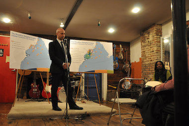 Dr. Richard Becker, CEO of Brooklyn Hospital, spoke to Red Hook residents and LICH advocates about a proposal for the hospital on March 11, 2014.