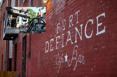 A bike corral has been proposed for Fort Defiance at 365 Van Brunt St. in Red Hook.