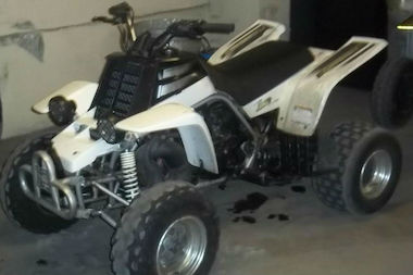 Police cracked down on owners of illegal dirt bikes and all terrain vehicles in Harlem over the weekend, arresting three people and confiscating eight vehicles. This is one of the ATV's that was seized.