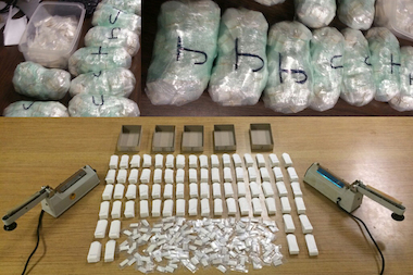 More than 5 pounds of heroin was seized in an apartment that police approached Friday night about noise complaints. A full warrant was issued by courts and the NYPD recovered equipment, glassines and more bags of heroin, police said.