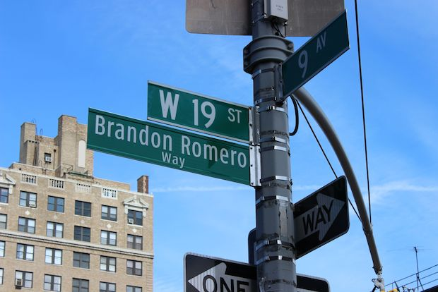 The corner of West 19th Street and Ninth Avenue is now Brandon Romero Way.
