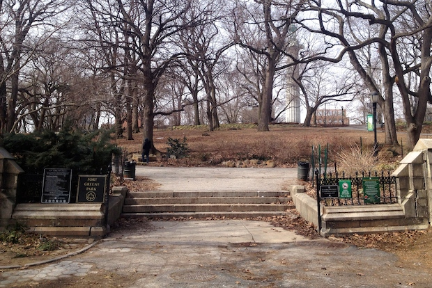The Willoughby Avenue entrance to Fort Greene Park has been in a state of disarray for more than five years.
