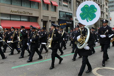 The New York Police Department's band marches in the 2014 St. Patrick's Day Parade.