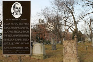 A bronze plaque will be unveiled to honor George Washington Johnson at Maple Grove Cemetery on April 12, 2014.