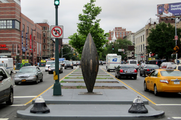 The Department of Transportation is looking to bring the seed-shaped sculpture to Inwood this spring.