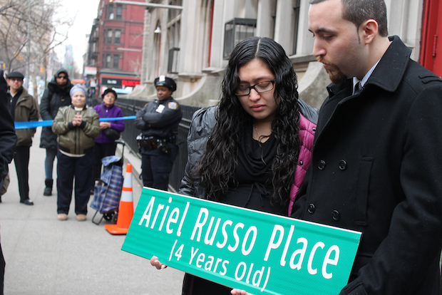 Ariel Russo was killed at the corner in June 2013 by a teenager fleeing police.