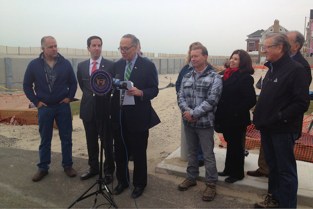 Sen. Schumer was in Belle Harbor, Queens to discuss the the passing of the Homeowner Flood Insurance Affordability Act in the House of Representatives.