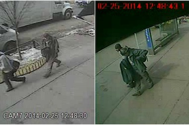 The suspects were caught on surveillance cameras near 512 Hudson St., where the burglary took place, police said.