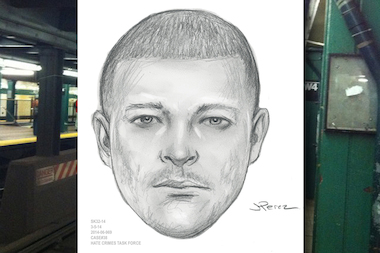 Police released a sketch showing a man wanted for a bias assault in the West 4th Street subway station.