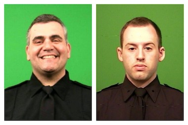 Officers Michael Konatsotis (left) and David Roussine saved the life of a toddler on Saturday.