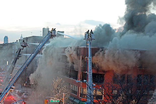 A fire engulfed a building at 74-09 37th Ave, near 74th Street in Jackson Heights on April 21, 2014.