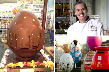 Chocolatier Jacques Torres created an 120-pound chocolate egg for The Fabergé Big Egg Hunt.