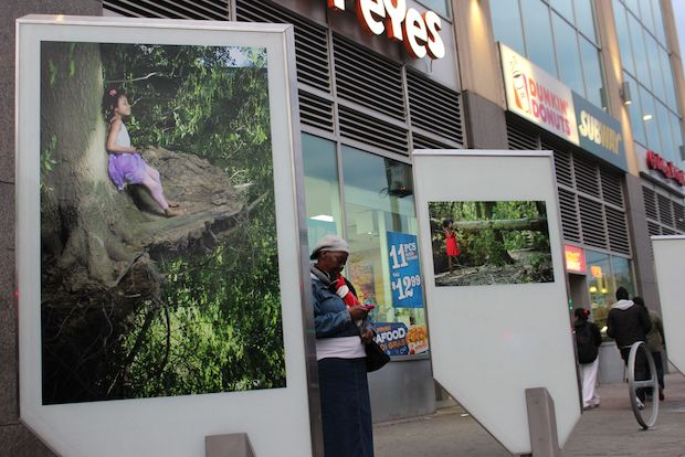 Several art panels have been installed on Parsons Boulevard near Jamaica Center.
