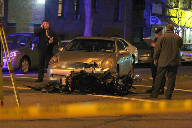 Two motorcyclists were injured, one critically, when they hit an oncoming car in Astoria Tuesday April 22, 2014, police said.
