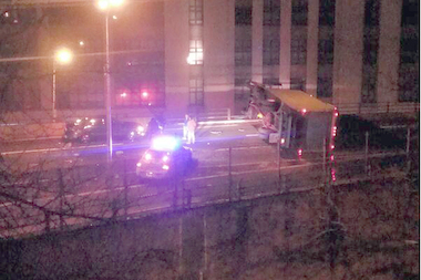 One man was injured after a tractor-trailer flipped on its side on the BQE, the FDNY said.
