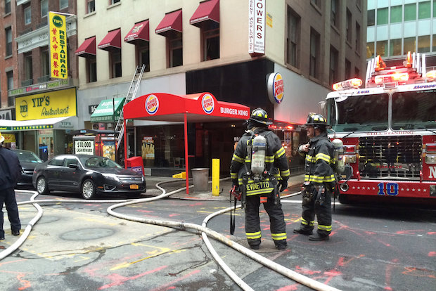 Fire Breaks Out In Financial District Burger King