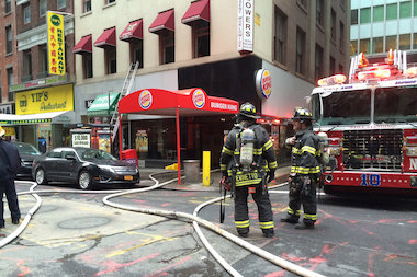 Flames raced through the duct work of a Burger King, the FDNY said.