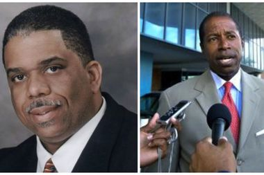 Leroy Comrie (left) decisively defeated state Sen. Malcolm Smith in the Democratic primary Tuesday.