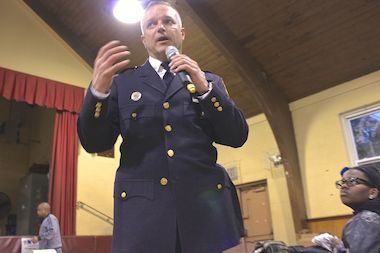 Deputy Inspector John Cappelmann at his first 103rd Precinct Community Council meeting in Jamaica Tuesday night.