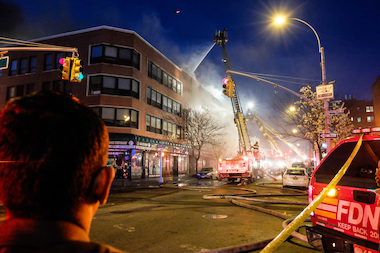 Firefighters battled a massive blaze at 74-09 37th Ave. in Jackson Heights on April 21, 2014.