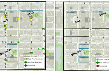 With the guilty pleas of 62 individuals in three East Harlem gangs, officials say violence has decreased in the area. The image on the left shows that from October 2009 to April 3, 2013 there were seven homicides, 46-non-fatal shootings, and 17 shots fired in the 23rd Precinct. On the right, it shows that from April 2013 to March 31, 2014 there have been two homicides, three non-fatal shootings, and no shots fired. On Thursday, the last two defendants arrested as part of the crackdown pleaded guilty to conspiracy and attempted murder charges, Manhattan District Attorney Cyrus Vance Jr. said.