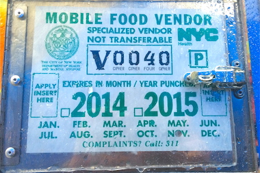 The DOH does not have enough inspection stickers, like the one pictured, to renew food truck permits across the city, according to the agency.