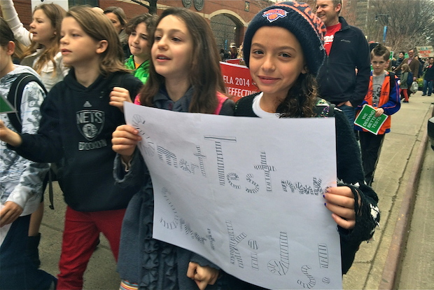 Dozens of schools in Manhattan protested the state's standardized English exams on April 11, 2014.