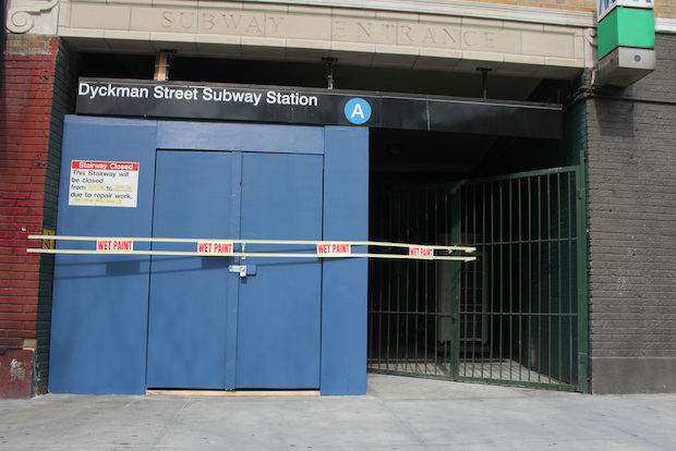 The northwest stairs at the Dyckman Street A train stop will be blocked off until July for renovations.