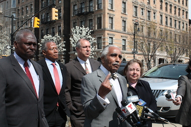 Charles Rangel endorsed Assemblyman Keith Wright (far left) Friday in the race for Rangel's Congressional seat.