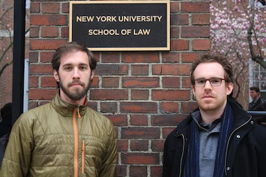 NYU Law students Luke Herrine, left, and Leo Gertner, right, are fighting subpoenas they received from the company of a member of the NYU Law School Board of Trustees, Daniel Straus.