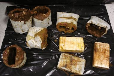 More than 7.35 pounds of cocaine was seized by customs officers.