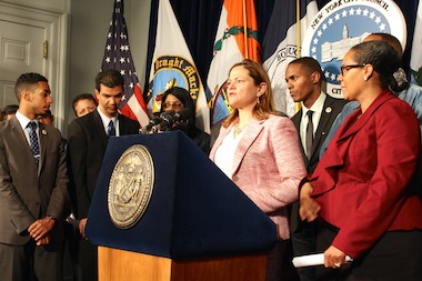 Council Speaker Melissa Mark-Viverito called on Mayor Bill de Blasio to hire an additional 1,000 police officers on April 23, 2014, as part of the council's response to the mayor's preliminary budget.
