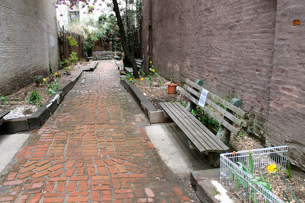 The West 71st Street pocket park is crumbling, Parks Department staff said.