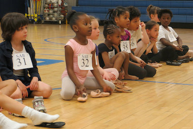 Children wait their turn during the School of American Ballet's free audition at the Brooklyn Friends School in May 2013.
