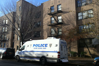 A photo of the Stuyvesant Gardens Houses in 2012. Police say a fire and shooting at Stuyvesant Gardens on March 30, 2014 may have been triggered by a credit card scam.