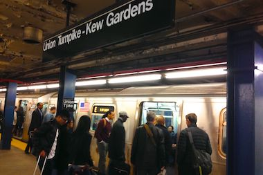 A homeless man slashed a 26-year-old straphanger in the face at the Union Turnpike station in Kew Gardens Sunday.